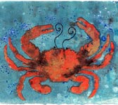 "Pamela Conway Caruso ""Hot Crab on Blue"""
